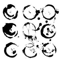 Abstract round prints strokes and splashes of ink vector image vector image