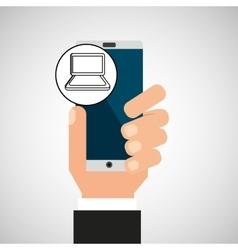 hand phone laptop app media vector image vector image