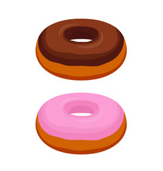tasty donuts - chocolate pink glaze vector image