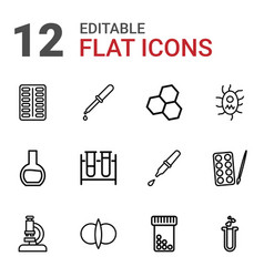 12 chemistry icons vector image