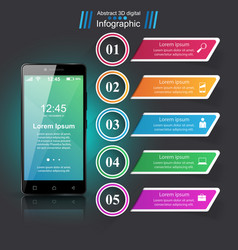 3d infographic smartphone icon vector