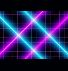 3d neon cyberspace blue and violet lights vector