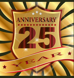 anniversary 25 th label with ribbon vector image