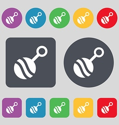 Baby rattle icon sign A set of 12 colored buttons vector image