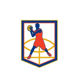 Basketball Player Passing Ball Shield Retro vector