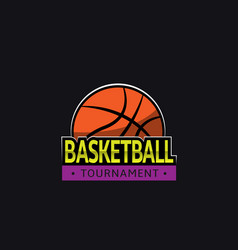 Basketball tournament logo template vector
