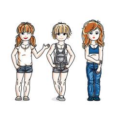 beautiful little girls group posing wearing vector image
