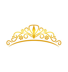 beauty golden tiara crown design vector image