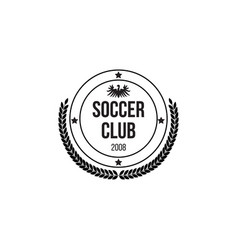 black circle badge for soocer club with shield and vector image