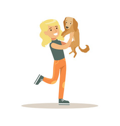 blond smiling girl holding dachshund dog in her vector image