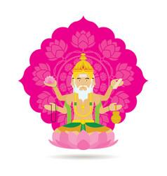 brahma hindu god or deity vector image