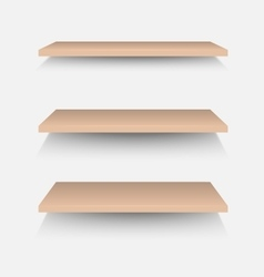 Brown shelves on white wall vector