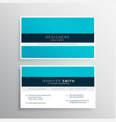 Business card design in blue pattern shape vector