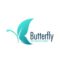 butterfly blue design logo vector image