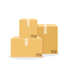 Carton boxes set with packing symbols flat style vector