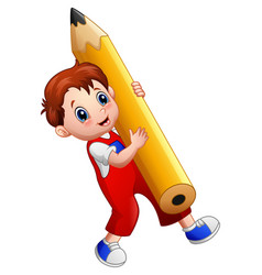 Cartoon boy holding a big pencil vector