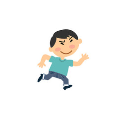 cartoon character asian boy running vector image