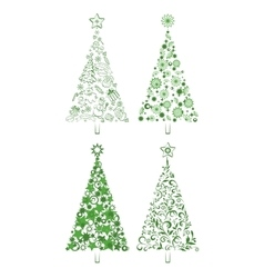 Cartoon Christmas Holiday Trees vector image