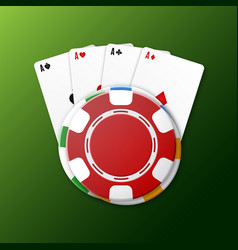 casino chips with playing cards vector image