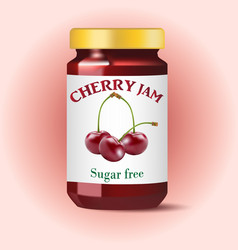 cherry jam isolated on white vector image