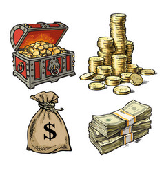 chest with treasures stack coins sack of vector image