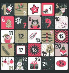 Christmas advent calendar with cute animals vector