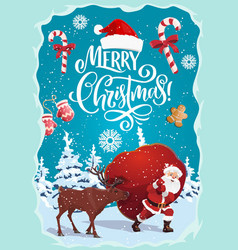 christmas and new year santa claus and deer vector image