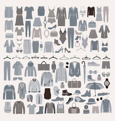 clothes and accessories fashion icon set men and vector image