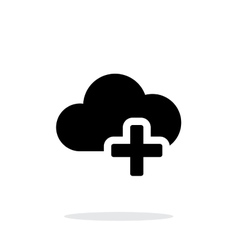 Cloud computing with plus simple icon on white vector image