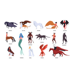 collection of various magical mythical creatures vector image