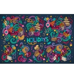 Colorful set of holidays object vector