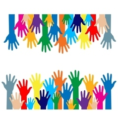 Colorful silhouette hands over white background vector