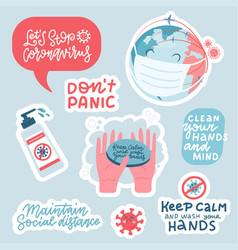 coronavirus prevention sticker set hand drawn vector image