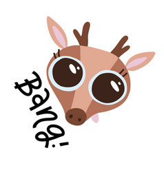cute bear head with big eyes on white background vector image