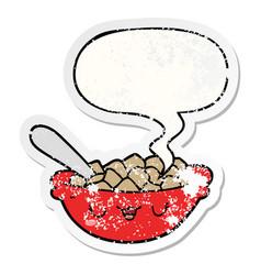 Cute cartoon bowl cereal and speech bubble vector