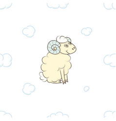 cute cartoon sheep boy in the clouds vector image