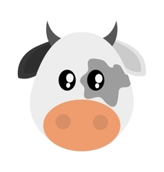 Cute cow cartoon icon vector image