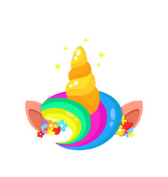 cute unicorn rainbow hair and horn vector image