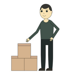 delivery man cartoon character vector image