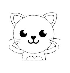 Dotted shape smile cat adorable feline animal vector