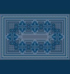 Ethnic blue carpet with oriental vintage ornament vector