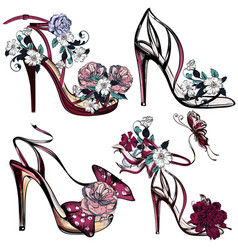 Fashion set with sandals and flowers for design vector