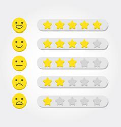 feedback concept five stars rating and emoji vector image