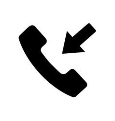 Flat black incoming call icon vector