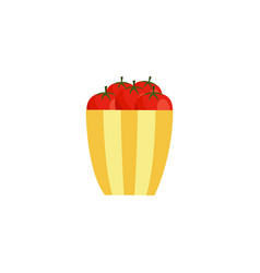flat tomato in bowl icon vector image