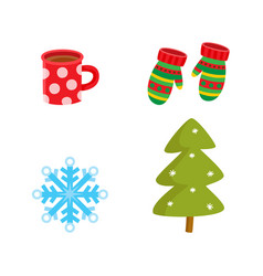 flat winter symbols icon set vector image