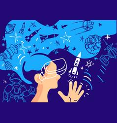 Futuristic design virtual reality child in space vector