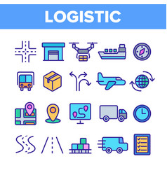 global logistic department linear icons set vector image