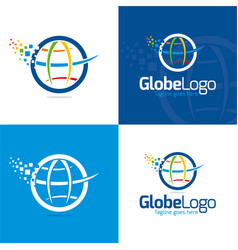 Globe and pixels vector