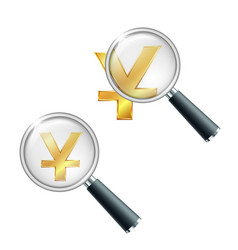golden yuan currency sign with magnifying glass vector image